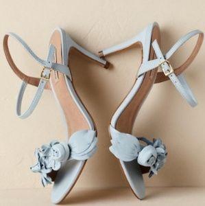 Anthropologie  X BHLDN Blue Bloomed Heels
